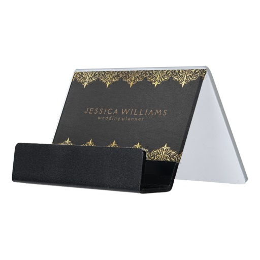 Image of: Business Card Holder Desk Black