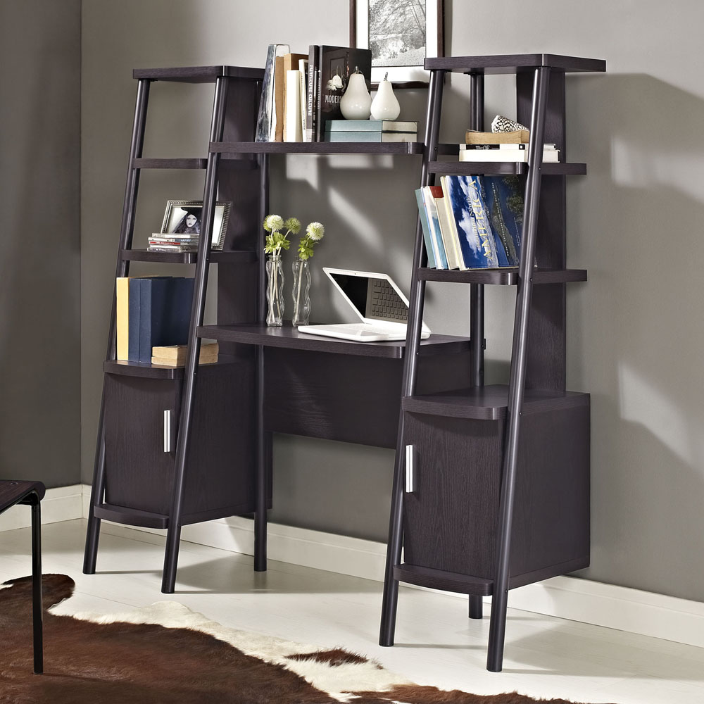 Image of: Computer Desk With Bookshelf Ladder
