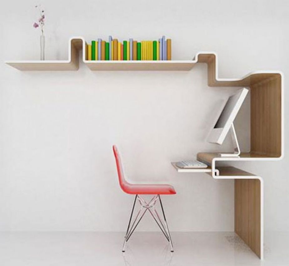 Image of: Computer Desk With Bookshelf Modern