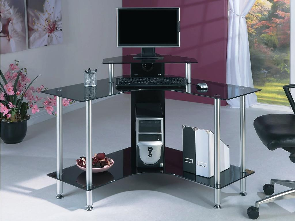 Image of: Corner Computer Desk With Storage Glass