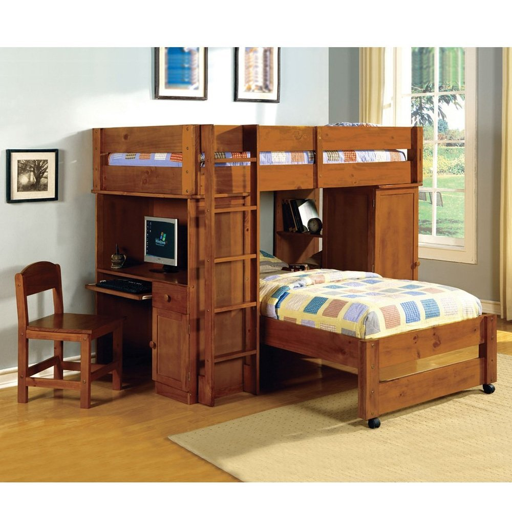 Image of: Custom Boys Bunk Bed With Desk
