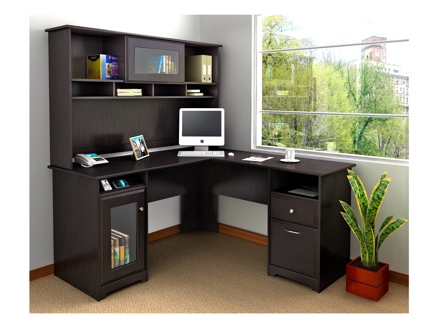Image of: Dark Brown Corner Desk