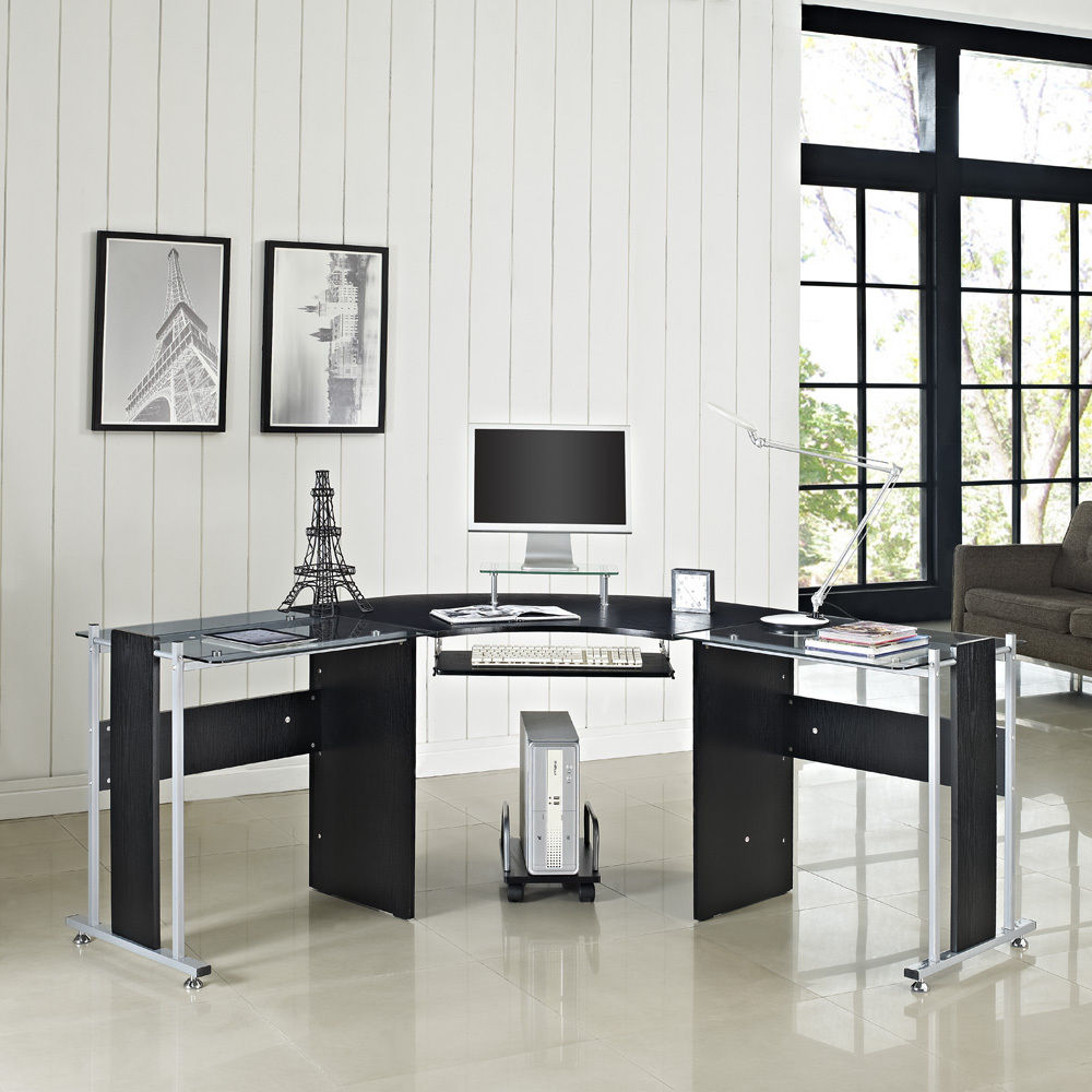 Image of: Design Black Corner Desk