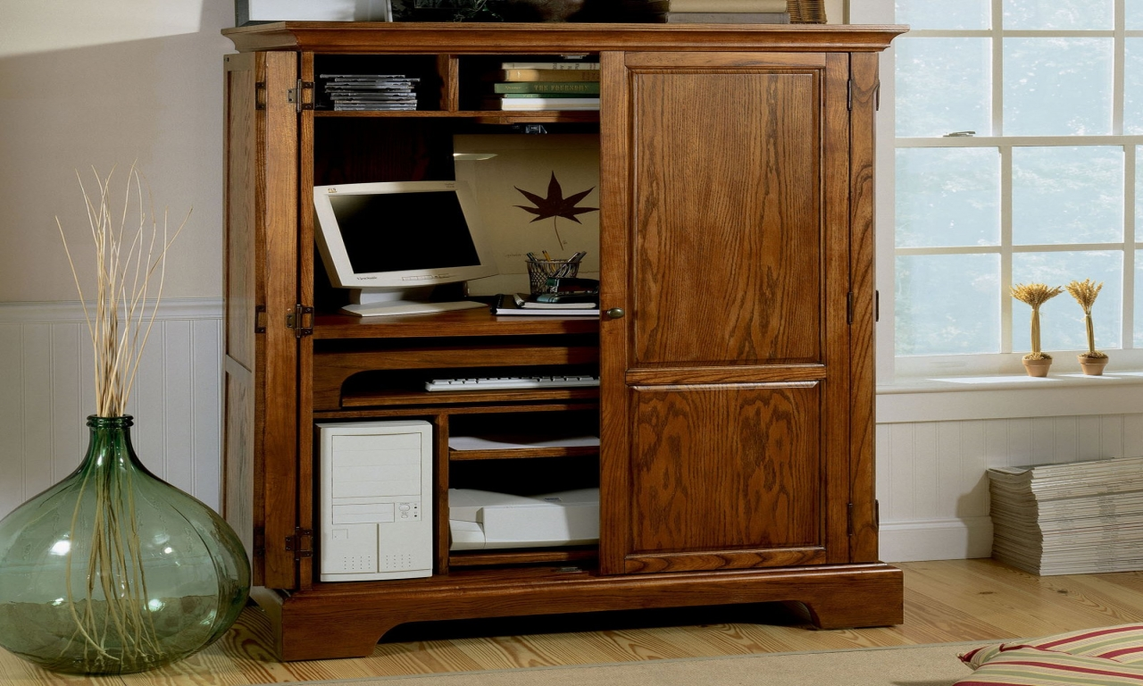 Image of: Beautiful Wood Desk Armoire Design Ideas