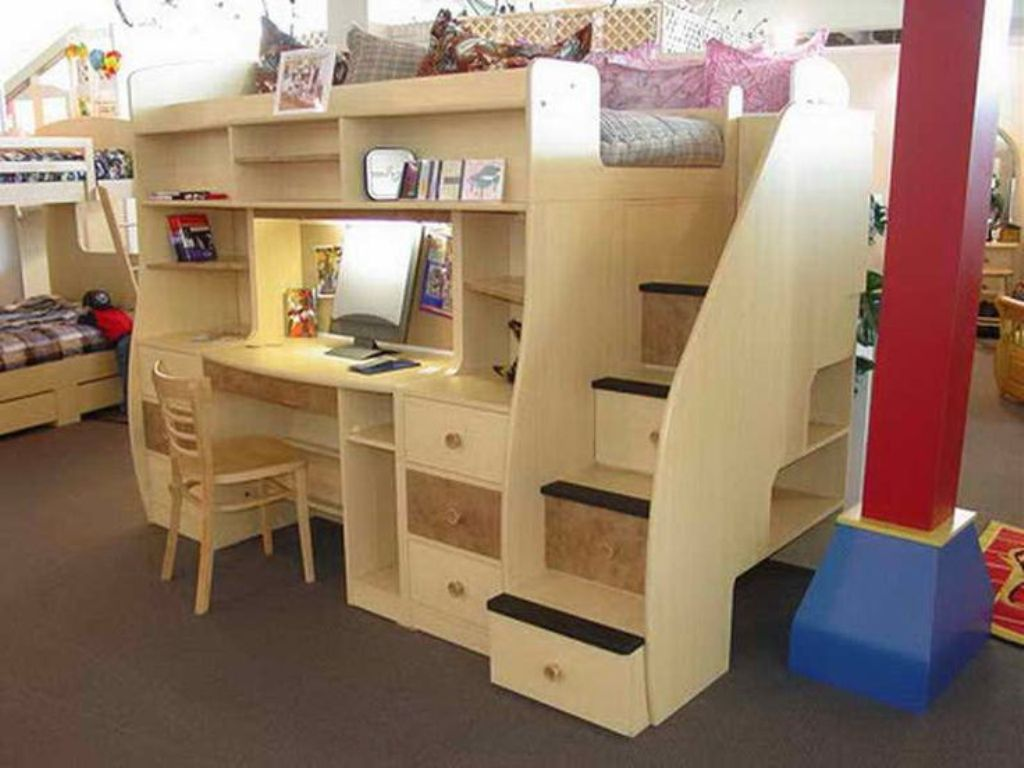 Image of: How to Build a Bunk Bed Desk Combo