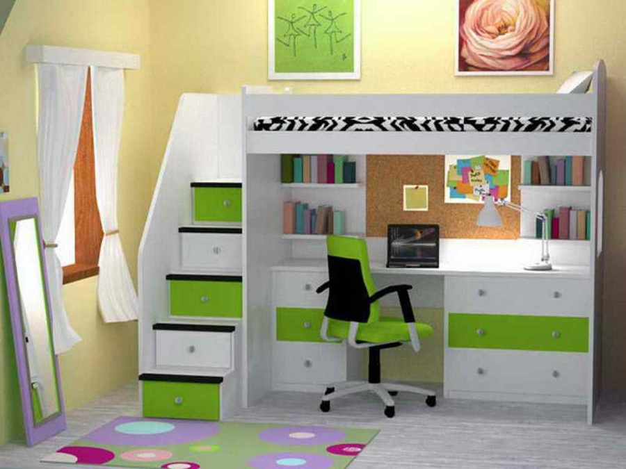 Image of: Ikea Bunk Bed with Desk Underneath