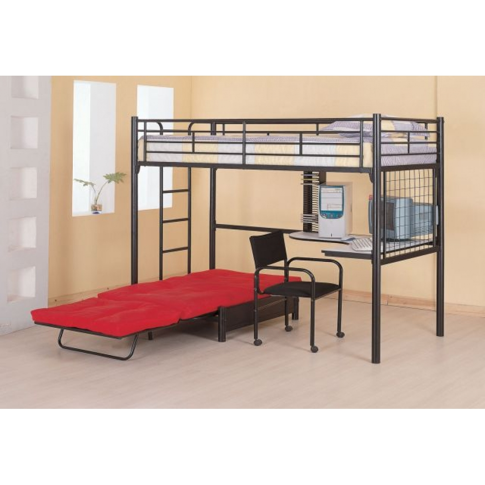 Image of: Iron Boys Bunk Bed With Desk