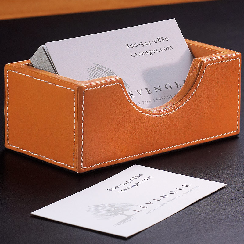 Leather Desk Card Holder