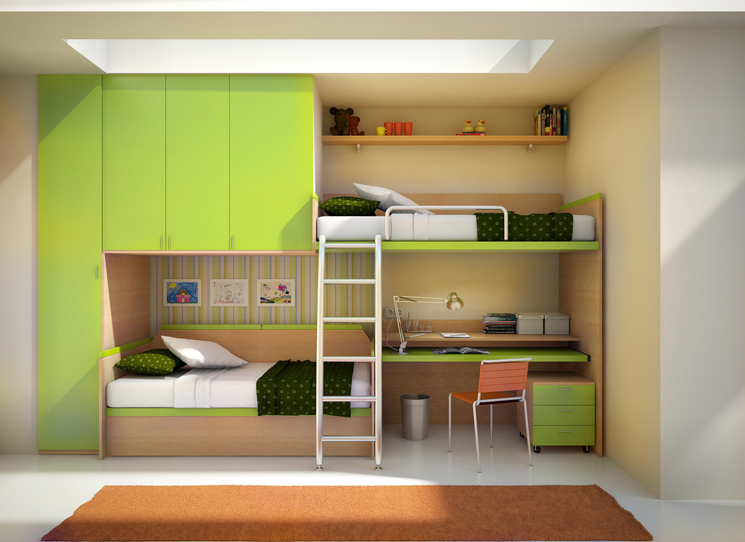 Image of: Modern Bunk Beds for Kids with Desk