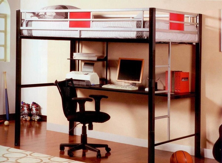 Image of: Queen Bunk Bed with Desk Underneath