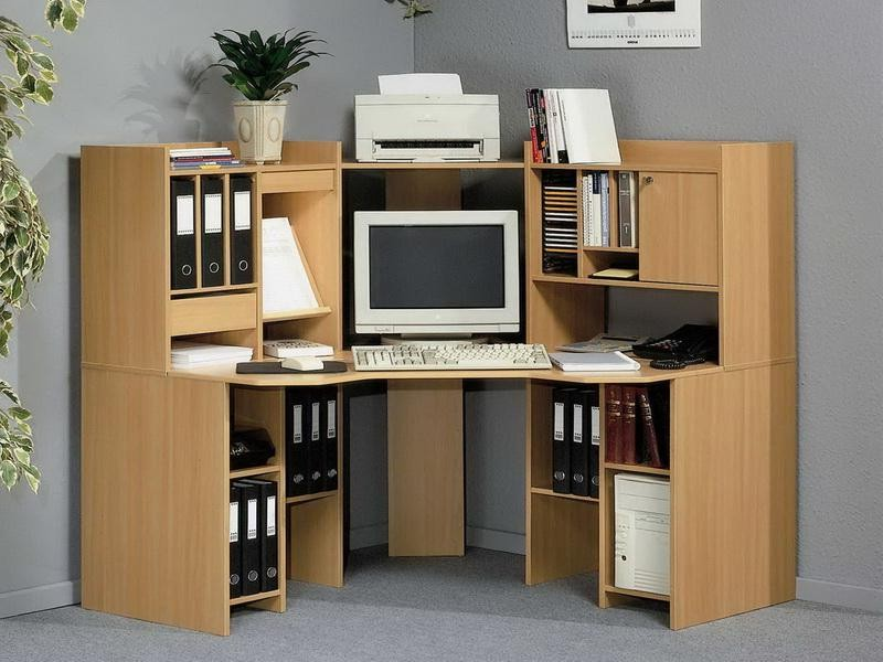 Image of: Rustic Corner Computer Desk With Hutch