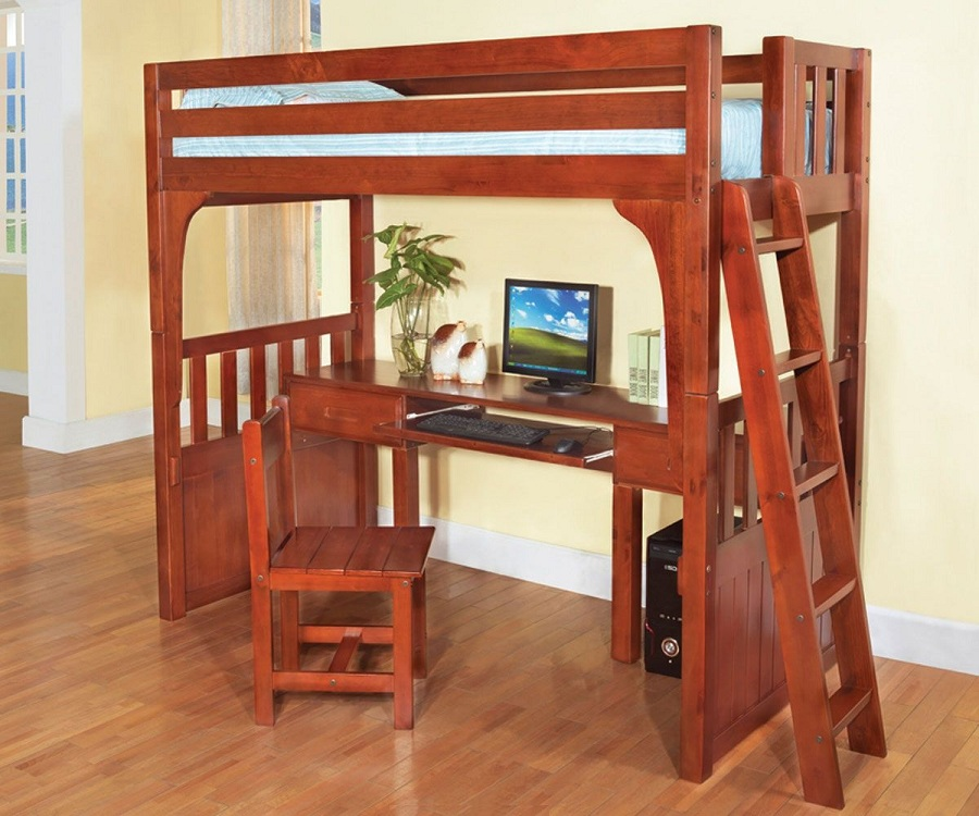 Image of: Small Bunk Bed with Desk Cheap