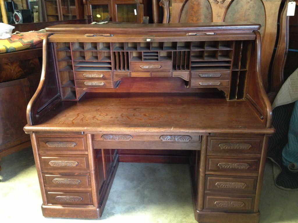 Image of: Stylish Antique Roll Top Desk