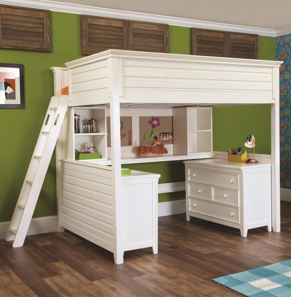 Image of: White Bunk Bed with Desk Underneath