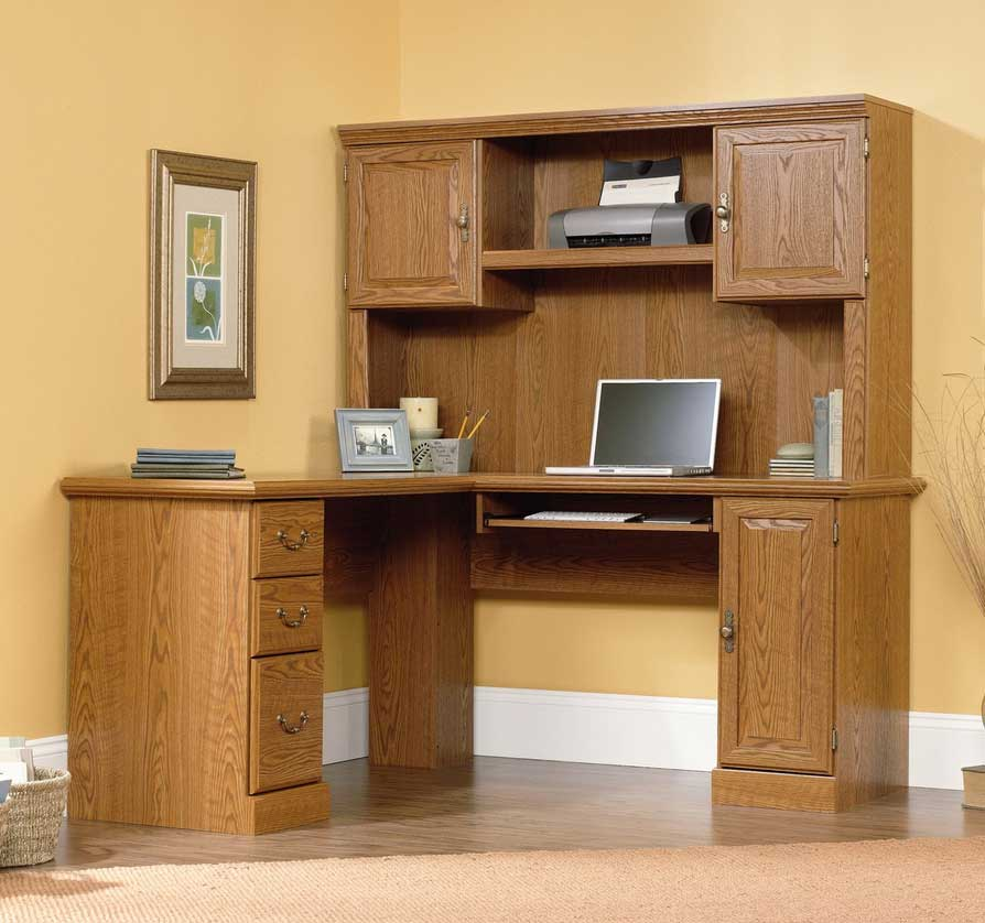 Image of: Wood Bedford Corner Desk