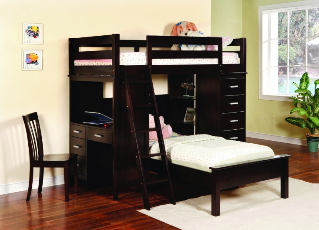 Image of: Wooden Bunk Bed With Built In Desk