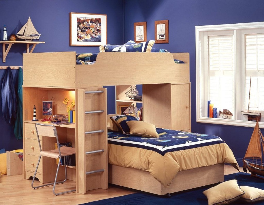 Wooden Bunk Bed with Desk Cheap