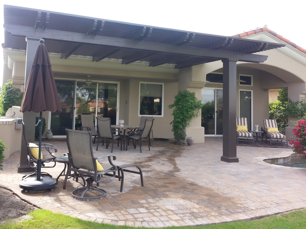 Image of: Aluminum Wood Patio Cover Idea