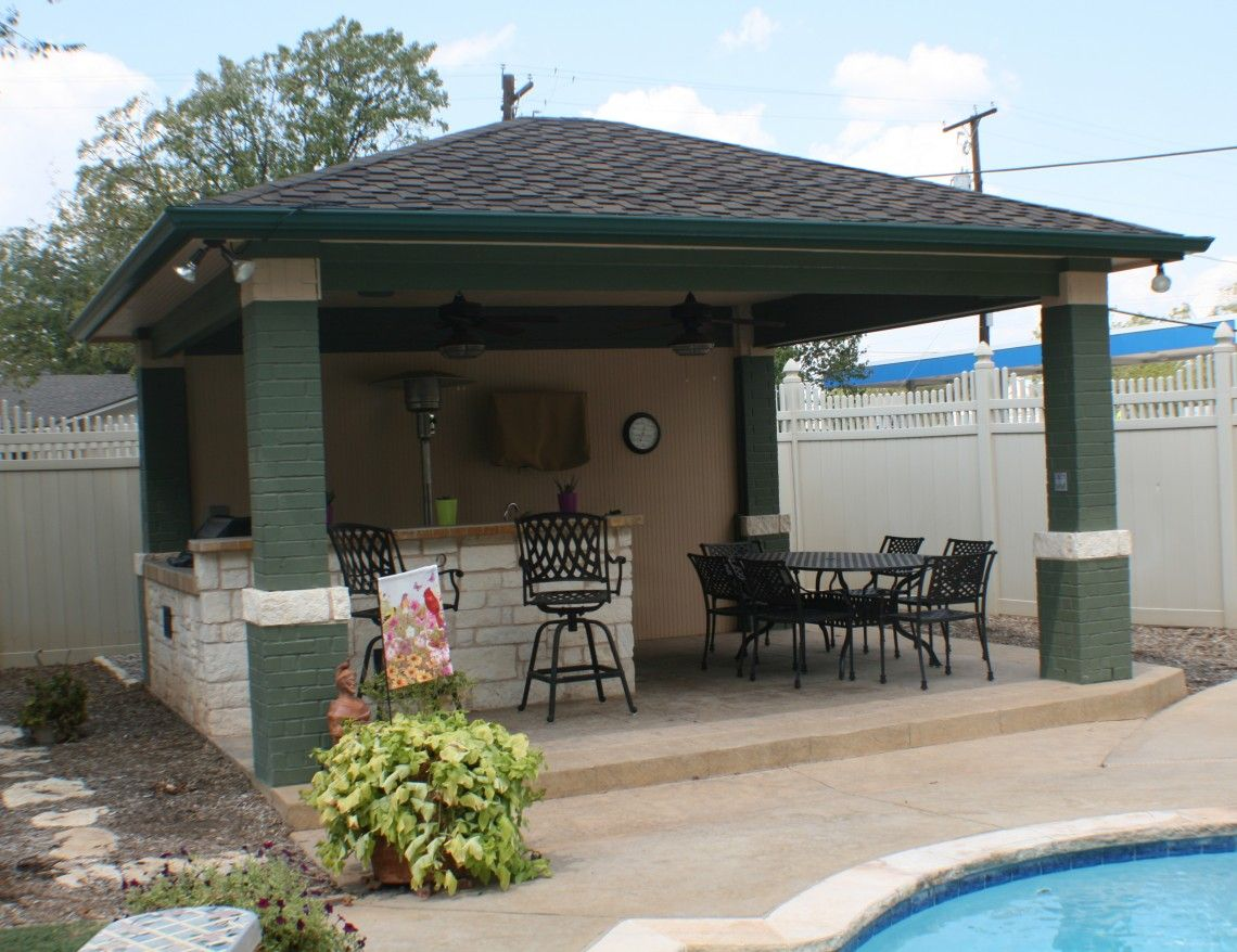 Image of: Backyard Patio Cover Kitchen