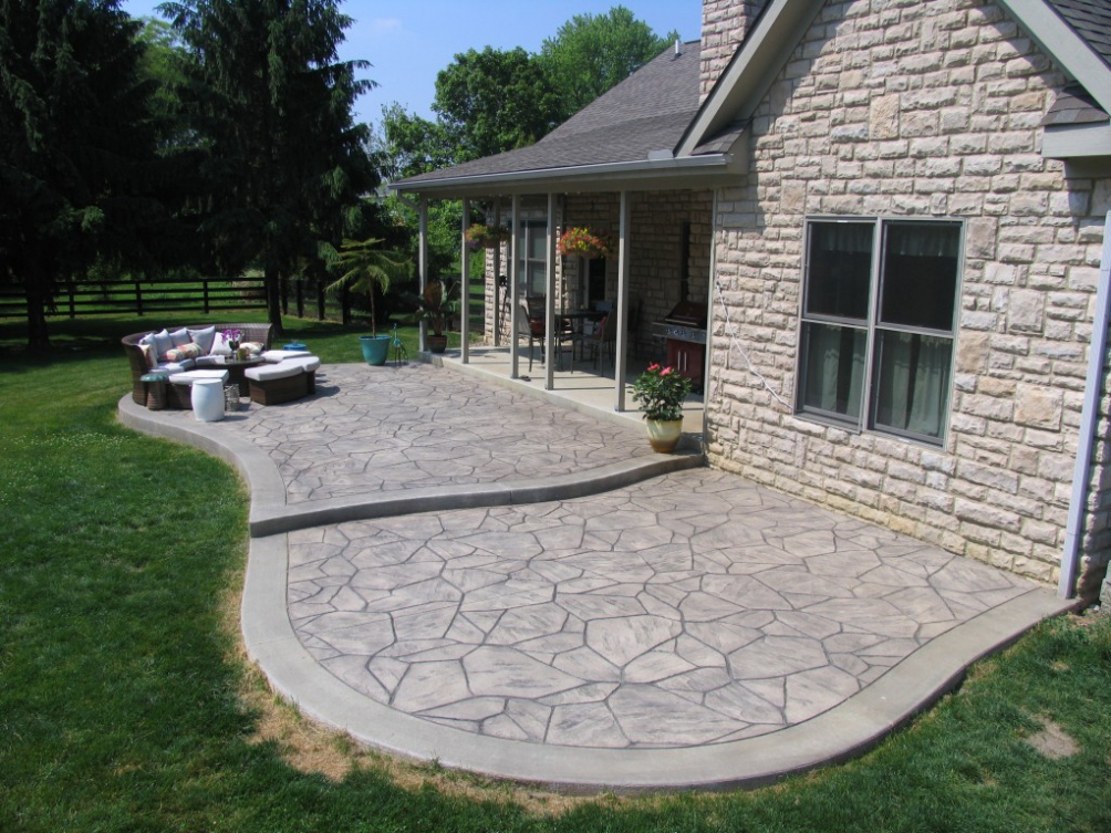 Image of: Great Backyard Stamped Concrete Patio Ideas