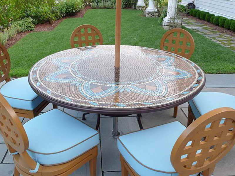Image of: Black Round Patio Table Cover