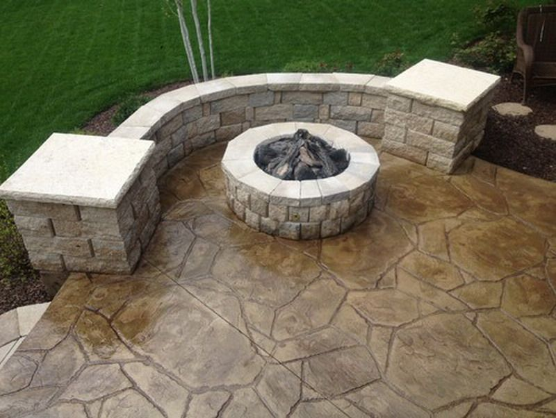 Image of: Broken Backyard Stamped Concrete Patio Ideas