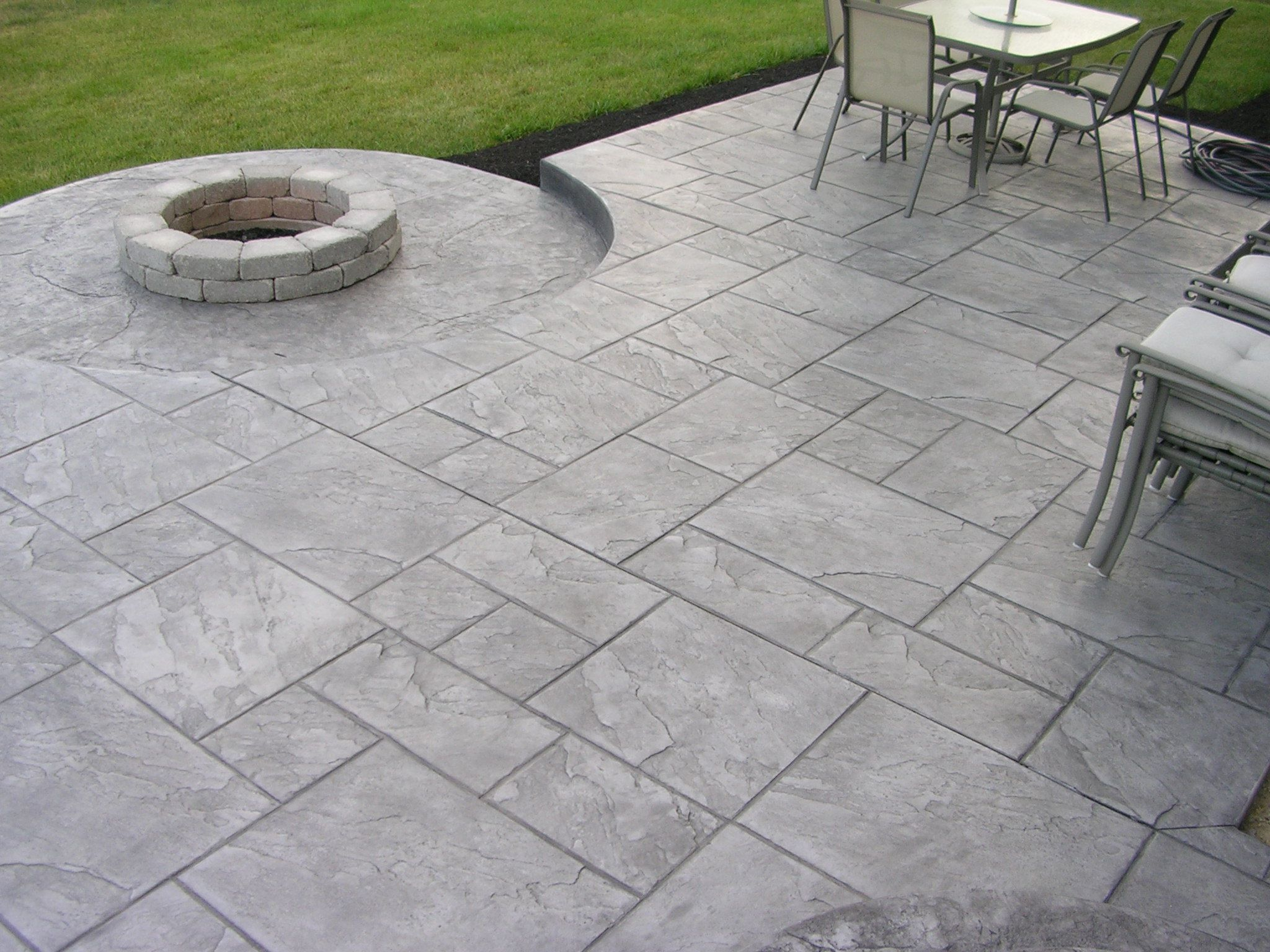 Image of: Brushed Backyard Stamped Concrete Patio Ideas