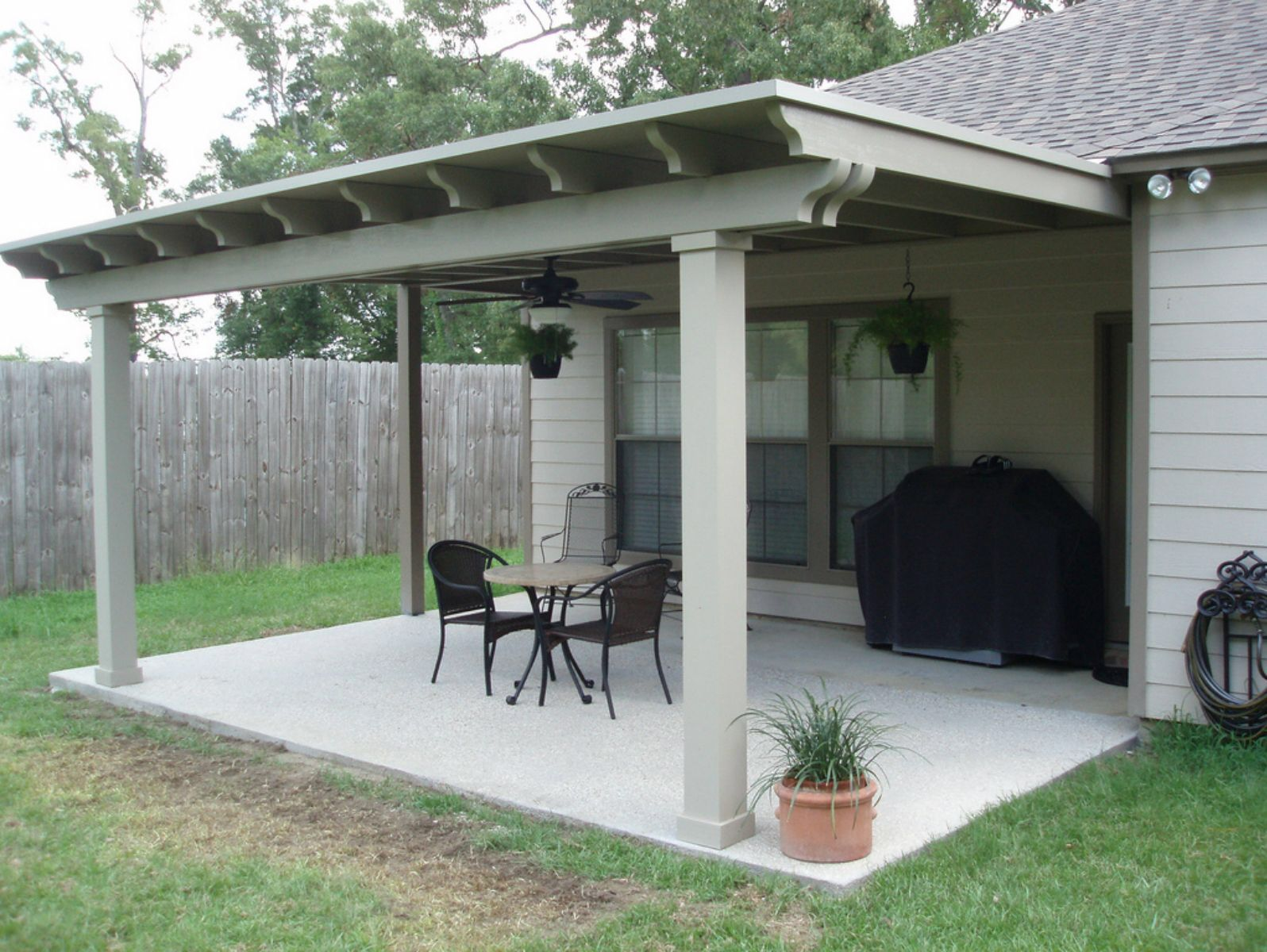 Image of: Lean to Patio Cover Cement