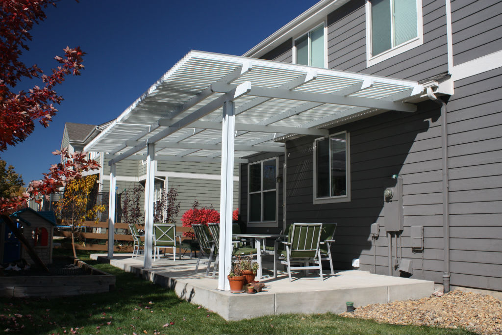 Image of: Louvered Patio Cover White