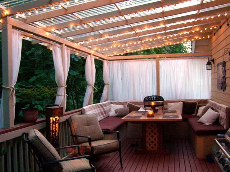 Image of: Outside Patio Cover With Light
