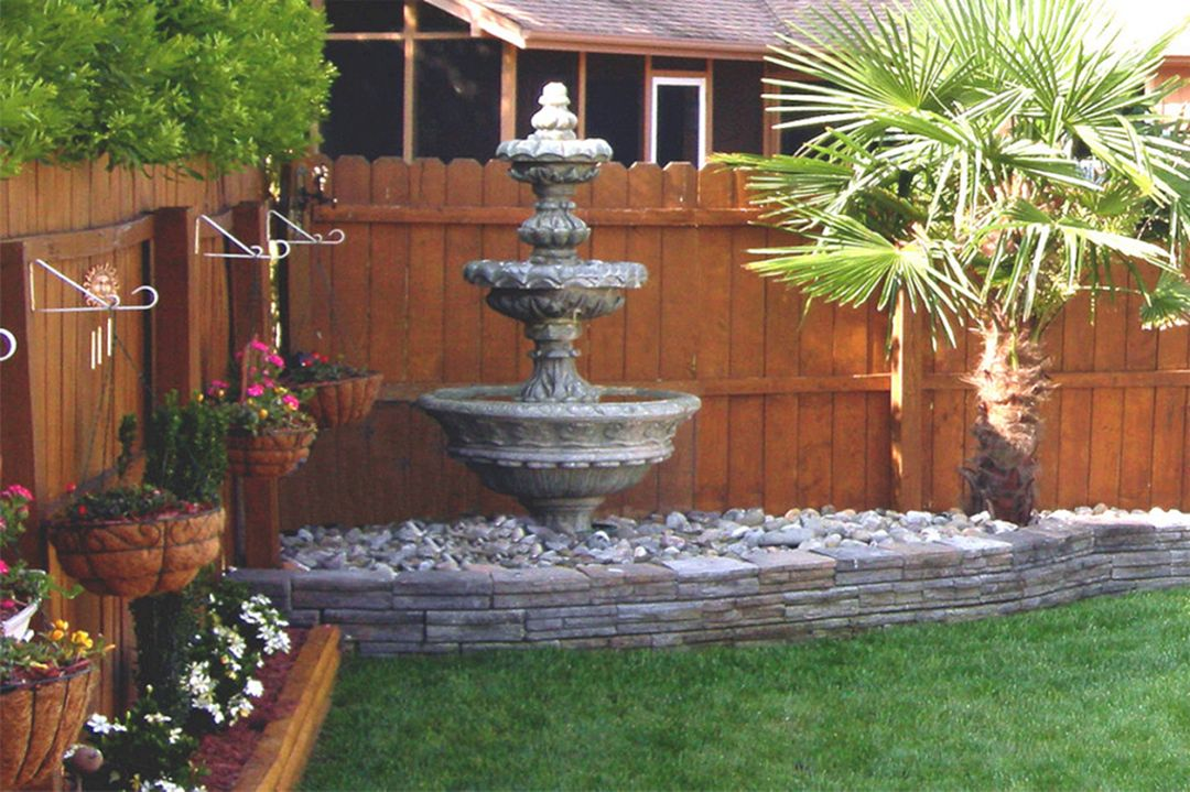 Image of: Patio Fountain Ideas Corner