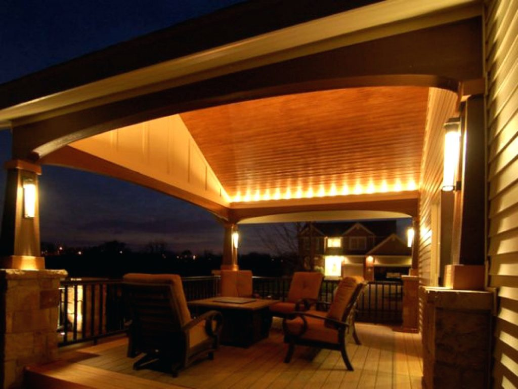 Image of: Pool Covered Patio Lighting Ideas