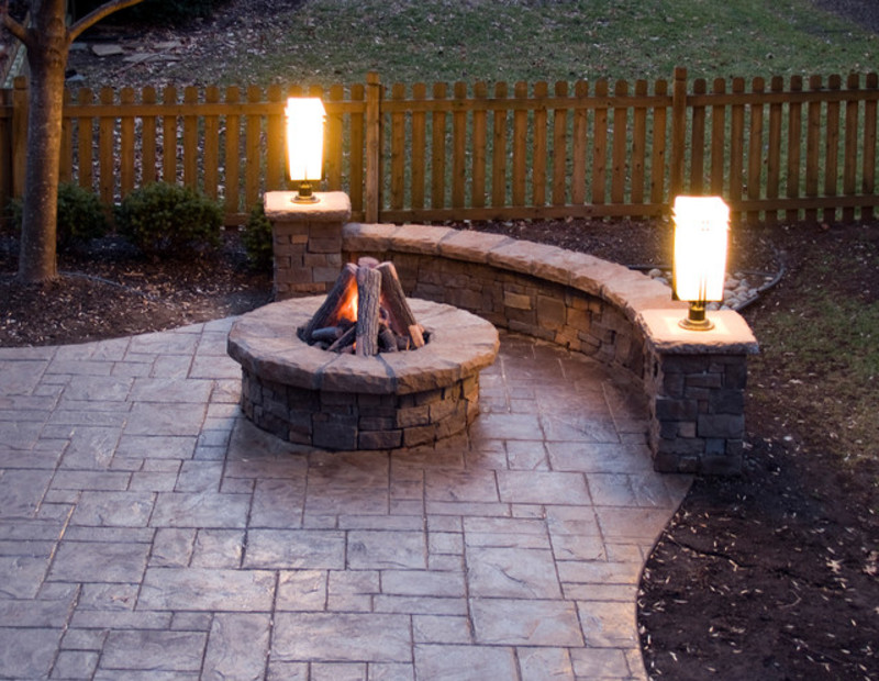 Image of: Stamped Concrete Patio Ideas and Arbor
