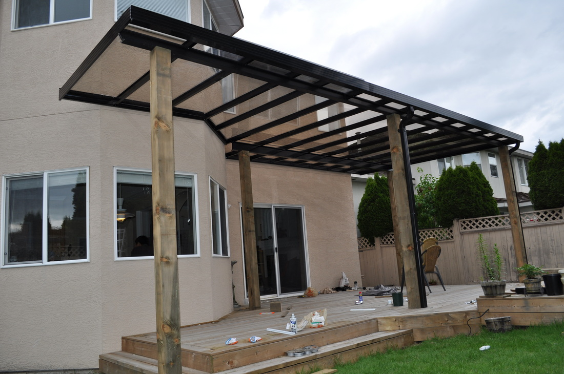 Image of: Steel Patio Cover Build