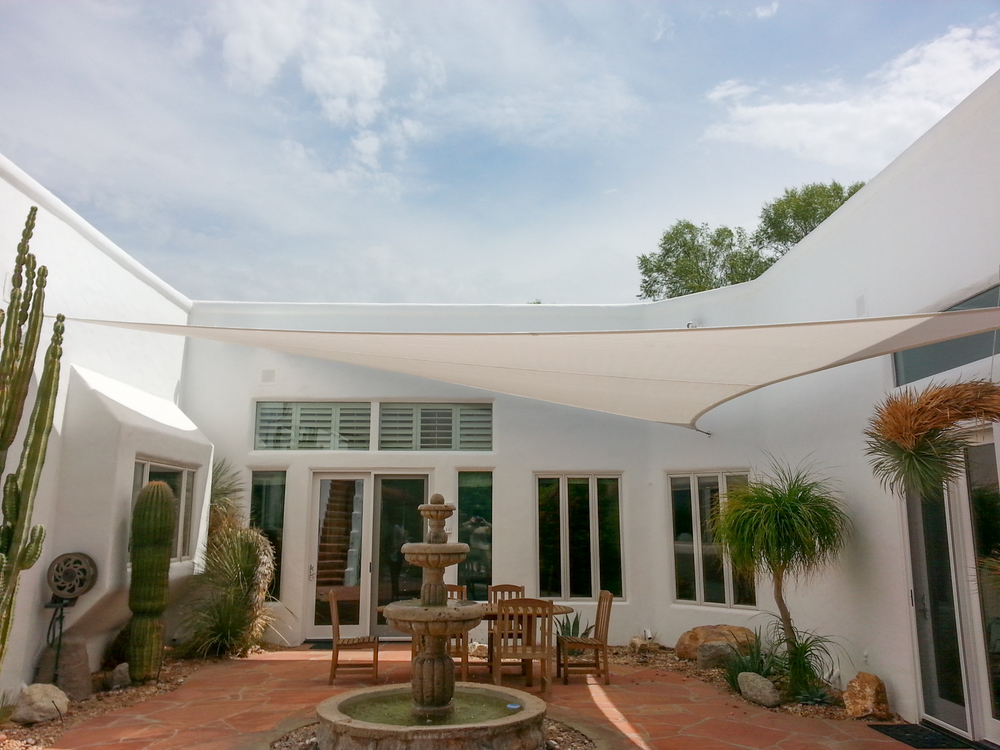 Image of: White Patio Shade Cover
