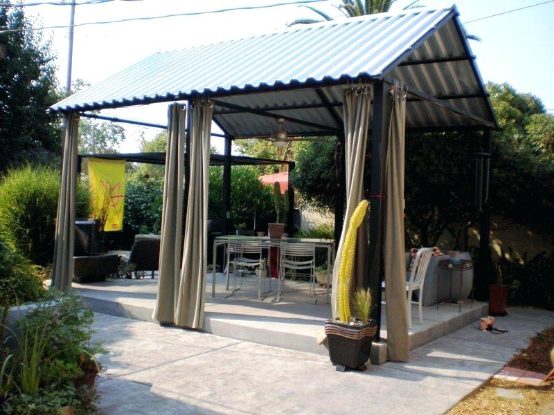 Image of: Wood Patio Cover Designs With Curtain