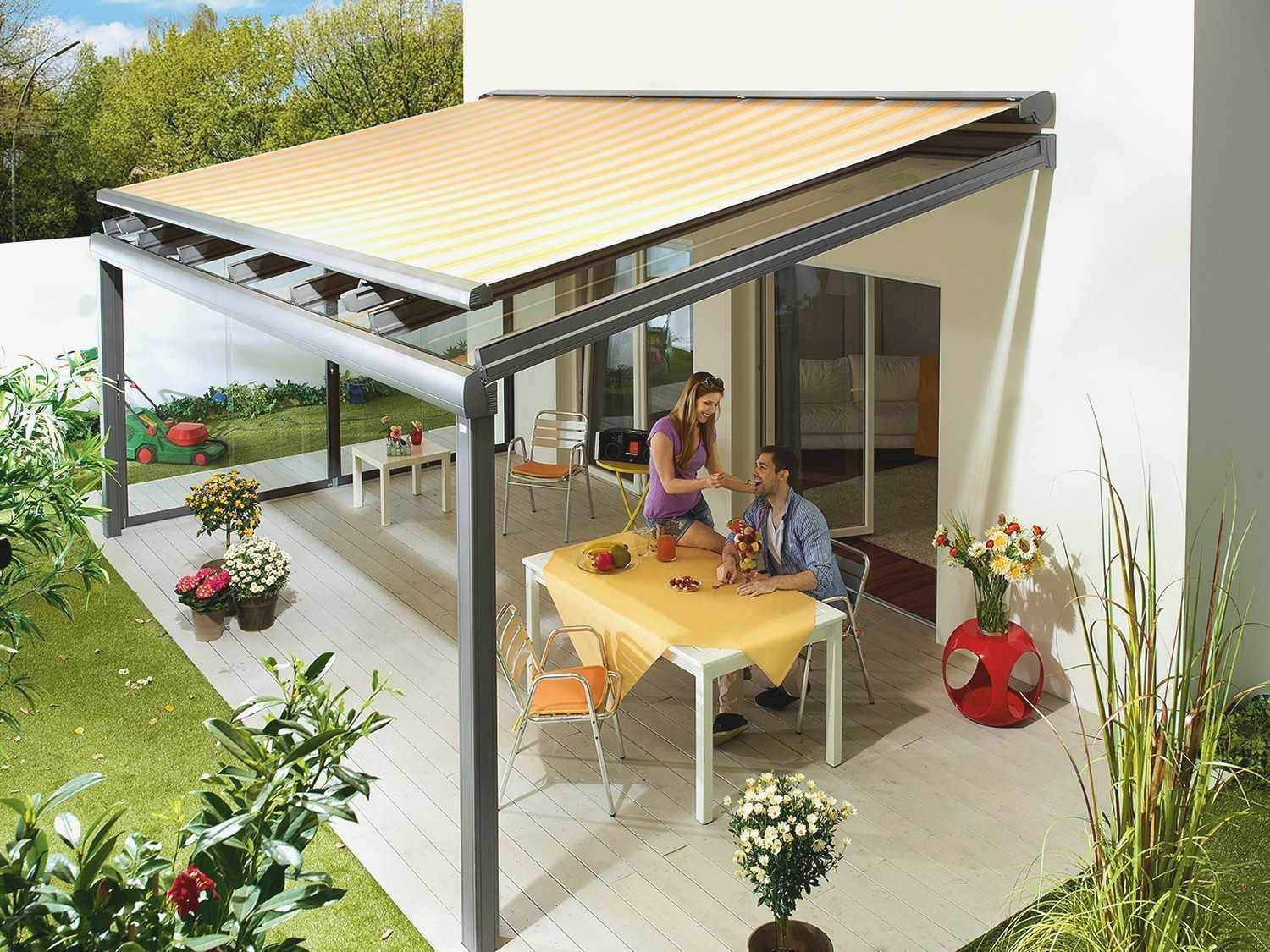 Image of: Motorized Sun Shade Patio Cover
