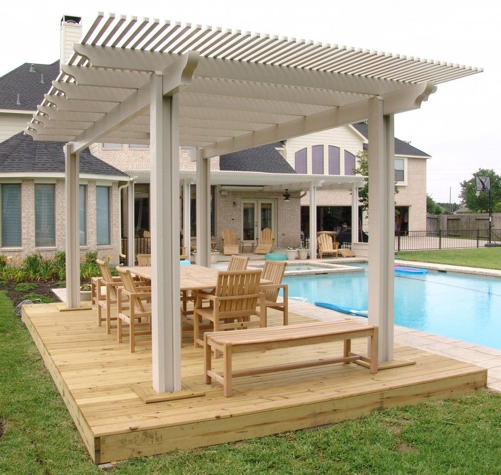 Image of: White Patio Pergola Cover