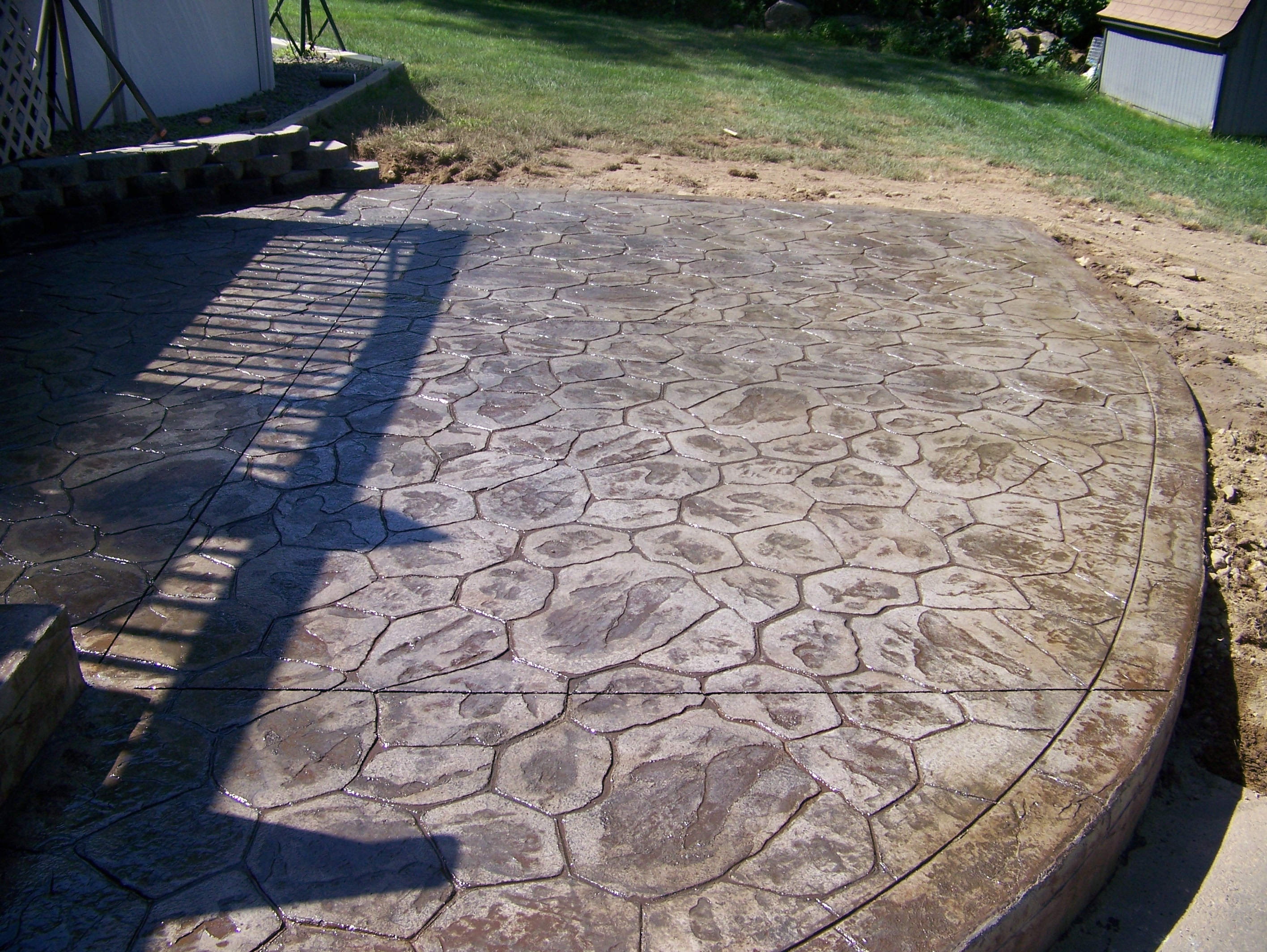 Image of: Inspired Backyard Stamped Concrete Patio Ideas