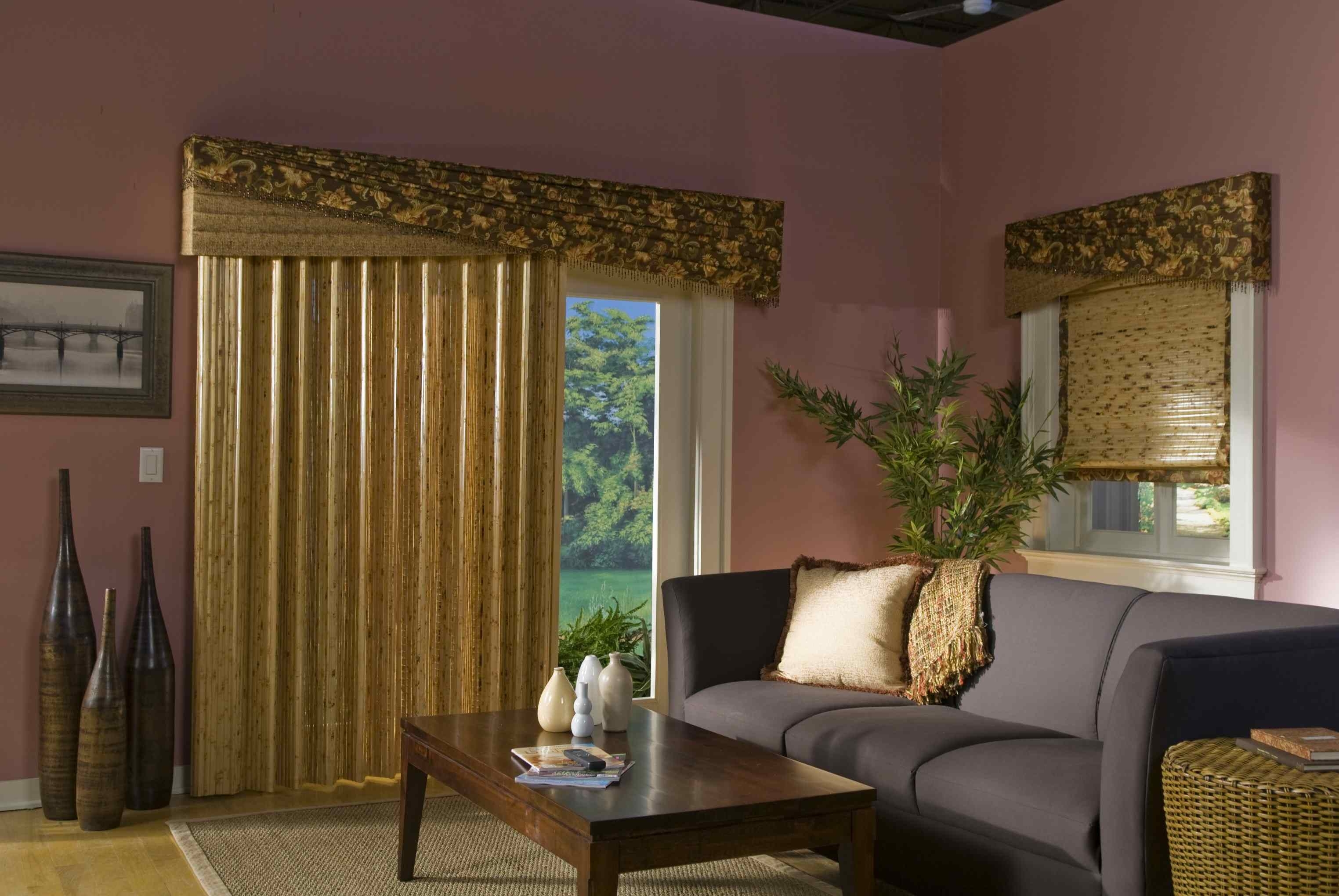 Yellow Fabric Patio Door Window Treatment Ideas